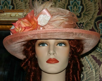 Kentucky Derby Hat Ascot Edwardian Hat Titanic Hat Somewhere Time Hat Downton Abbey Hat Church Hat Women's Peach Pink Easter - Miss Betty
