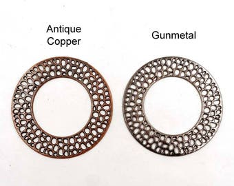 2 Antique Copper Or Gunmetal Filigree Pendant/Connectors - 1-62