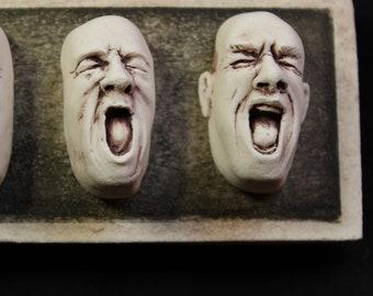 Making Faces Porcelain Wall Hanging Man Shouting