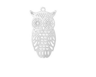 OWL pendant charm stainless steel Silver (30)