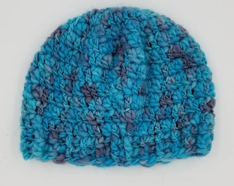 Blue crochet merino and bamboo Toddler/ child's hat