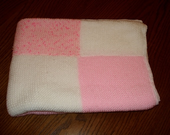 Pink & White Patch Cot Blanket