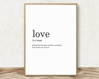 Love Definition Print - Definition of Love Print Love Poster Love Quote Prints Love Wall Art Love Printable Amore Print Love Decor Love Art