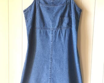 Vintage 90s Denim Mini Dress // Strappy Skater
