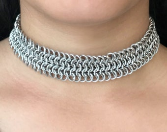 Chainmaille Choker.  Aluminum rings individually linked and hand woven into a silky soft and flexible choker with a magnetic clasp.