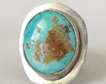 Turquoise Ring - Size 9 - Turquoise Statement Ring - Men's Ring - 25th Silver Anniversary Gift - December Birthday Gift