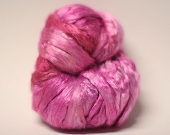 Silk Pure Roving Top Mulberry Hand Dyed Painted Cultivated Impatiens 2, 3