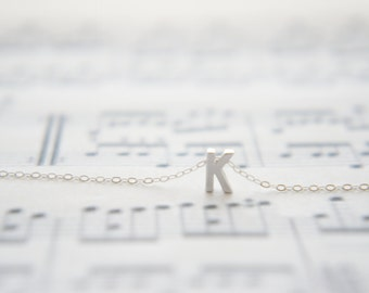 "Silver Letter, Alphabet, Initial capital  ""K"" necklace, birthday gift, lucky charm, layered necklace, trendy"