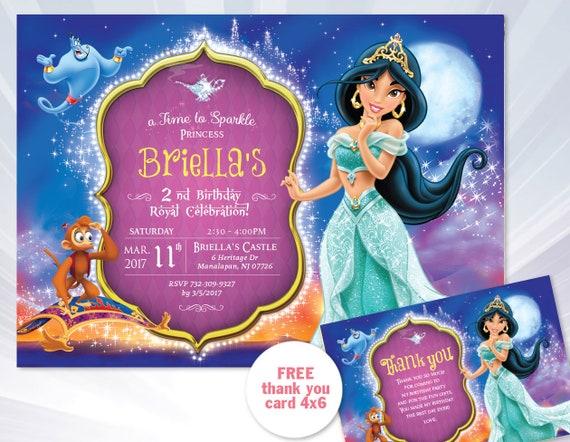 Princess Jasmine Invitation Princess Jasmine Birthday