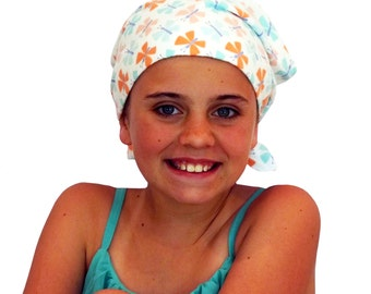 Jaye Children's Flannel Head Cover, Girl's Cancer Headwear, Chemo Scarf, Alopecia Hat, Head Wrap, Cancer Gift for Hair Loss Soft Butterflies