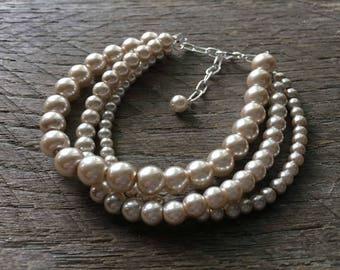 Champagne Pearl Bracelet Multi Strand Bridal Bracelet on Silver or Gold Chain