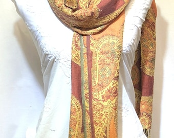 Indian rajasthani printed embroidered stole