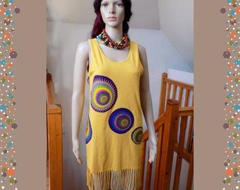 Originale Top !! AFROWAX !! en coton Jaune/multicolore, Long 88cm Taille: 38/40