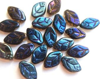 20 Czech glass beads, leaf shape,  leaves 13mmx8mm, blue