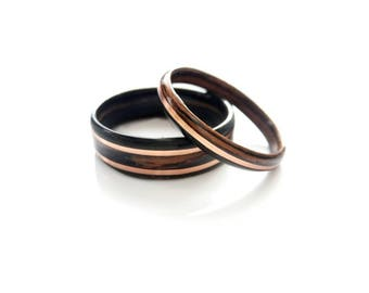 Wood Wedding Rings Set in Macassar Ebony with Copper Inlay Ring Ebony Couple Rings Wooden Rings Set Engagement Rings Set Custom Couple Rings