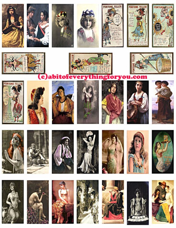 "gypsy fortune tellers domino collage sheet 1"" X 2"" inch domino graphics vintage photo postcard images digital download printables pendants"