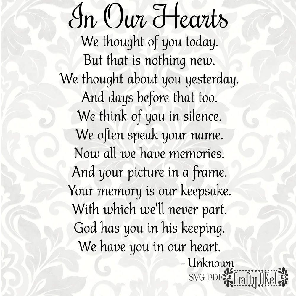 In Our Hearts Poem Bereavement Mourning Sympathy Grief