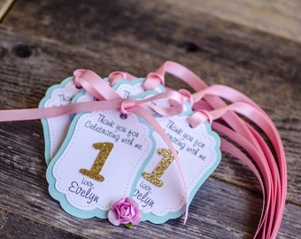 Pink and Mint favor thank you tags, one thank you favor tags, first birthday favor tags