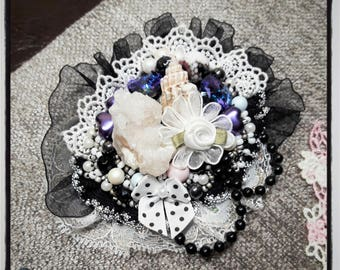 Black, white, purple brooch with natural Crystal, Shell, Swarovski crystals, bow, laces, beads and little rose, GothicJewelry, Gothic Lolita