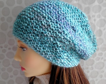 KNITTING PATTERNS OCEAN Womans Slouch Hat Pattern Easy Beanie Pattern/Womans Knit Hat/Knit Straight/Chunky Slouch Hat/ Quick Knit Beanie Hat
