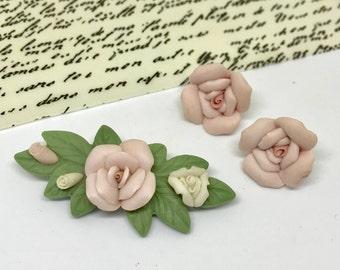 Porcelain Pink Flower Earring Brooch Vintage Set