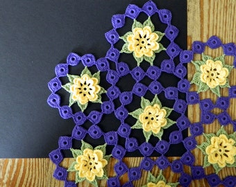 Colorful Crochet Doily - Floral Rings Doily - Yellow Flower Motif - Purple Accents - Green Leaves - Crochet Centerpiece - Table Center Large