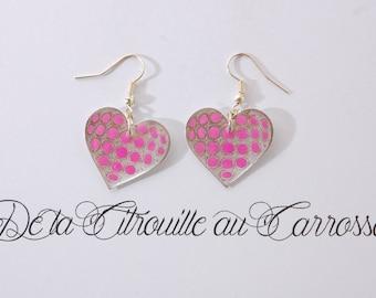 Heart polka dot hot pink, Silver earrings