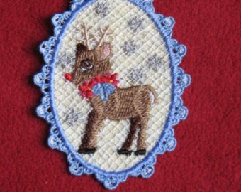 Lace Ornament Reindeer Embroidered