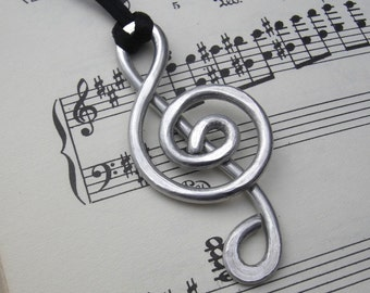 Big Treble Clef Pendant Necklace G Clef, Music Gift, Music Jewelry, Music Note Necklace Musician Gift, Treble Clef Jewelry,  Music Necklace