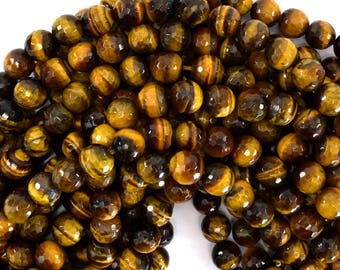 """10mm faceted tiger eye round beads 15"""" strand 39190"""