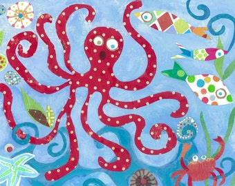 Red Octopus print