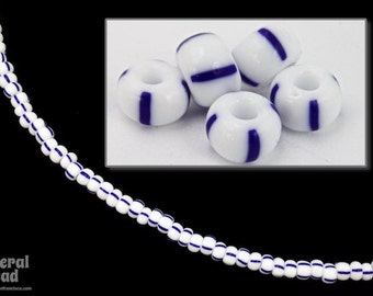 6/0 Opaque White/Blue Stripe Seed Bead (40 Gram) #CSB105