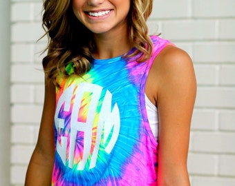 Monogram Tie Dye Tank Top - Rainbow - Sorority Gift  - Bridesmaid Gift
