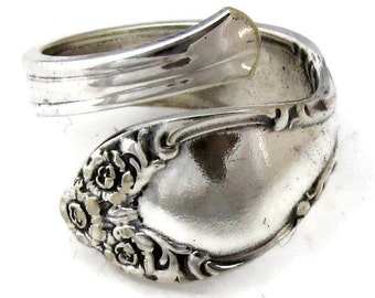 Silver Spoon Ring Size 3  to 8 Woodland Rose Demitasse Spoon 1955