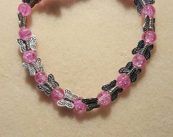 Pink glass and metal butterfly beads
