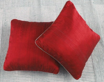 Rich red throw pillows16X16 inch decorative cushion covers - custom made avialable in range of colours. With silver or gold paiping cord