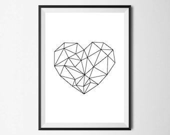 Geometric Heart Wall Print - Home Decor, Home Print, Heart Print, Geometric Print