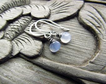 Blue Earrings, Gemstone Earrings, Dainty Earrings, Blue Chalcedony, Drop Earrings, Gift for Wife, Sterling Silver, Everyday, Wire Wrapped