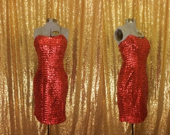 Vintage Red Sequin Party Dress // 1960s Wiggle Dress // Holiday Fashion // Strapless Sequin Dress // Sweetheart NYE Party Dress // Small XS