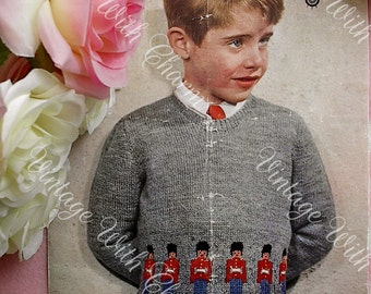 Vintage Knitting Pattern Boys Jumper 'Tin Soldier' Guardsman. To Fit 5 Year Old