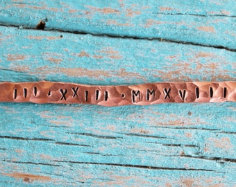 Personalized copper bracelet with hand stamped custom phrase / bridesmaid gift / gifts for her