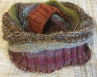 Rainbow Knitted Cowl