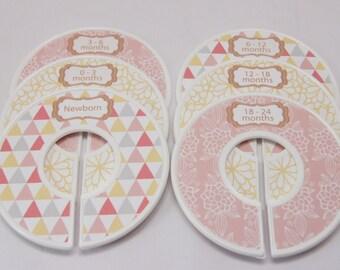 Baby Closet Dividers Baby Shower Gift Baby Girl Geometric Gift Peach Nursery Closet Organizers Premade