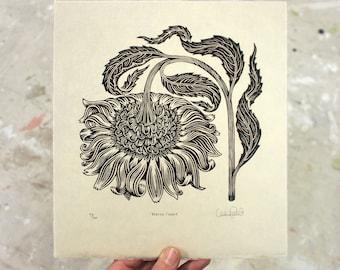 Bowing Flower - Woodcut Print, Woodblock Print by Tugboat Printshop, Valerie Lueth