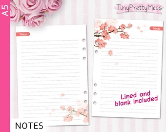 Printable A5 NOTES Inserts for planner Filofax A5, Kikki K Large - PDF lined and blank - Cherry Blossom Design Peach