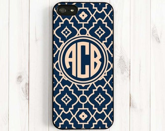 Quatrefoil iPhone 7 6 Case, Monogrammed Navy Blue Damask iPhone 6 Plus/5s/5c/5/4s Case, Samsung Galaxy s5/s4/s3 Samsung Note 3 Case QF39