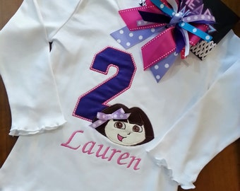 Dora the Explorer Number Themed Birthday Shirt - Personalizing Included Onesie (Shirt ONLY) Shirt - Bow and Hat Available