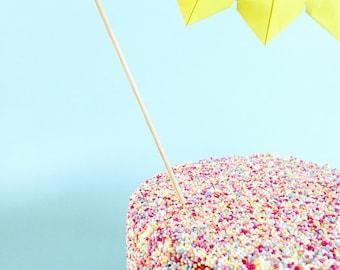 Sunshine Yellow Origami Heart Garland Cake Topper