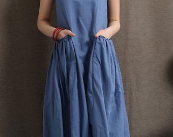 linen dress, summer dresses for women, sleeveless dress, maxi dress, loose fitting dress, pockets dress, women summer dress, long dress C426