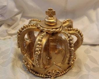 "Crown cake topper. Cold ceramic. 6"" diameter. Regal crown."